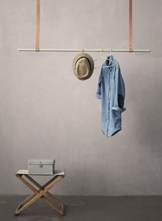 ferm living leather hanging clothing rod