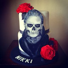 American Horror Story cake. Hand painted fondant portrait and sugar roses.
