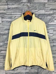 0324f0e647 Vintage 90 s NIKE Windbreaker Jacket Large Nike Swoosh Big Logo Nike Air  Yellow Sportswear Nike Golf