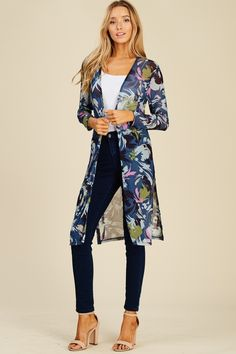 2b1b46506285 Floral Print Long Sleeve Mesh Cardigan Style  T1215 Knit cardigan featuring  floral print