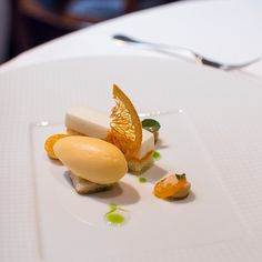 "Too pretty to eat! ""the french laundry. tahitian vanilla bean custard. granny smith apple ""nuage"". ""dulce de leche""."""