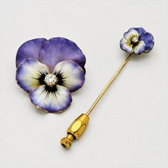 Antique Enamel, Diamond and Gold Pansy Pendant/Brooch and Stick-Pin (2), circa 1900
