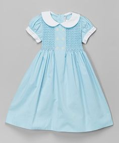 Look at this #zulilyfind! Aqua Peter Pan Collar Smocked Dress - Infant, Toddler & Girls #zulilyfinds