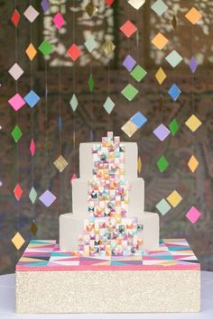 geometric wedding cake table