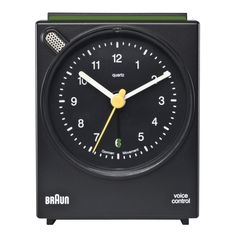 I think this Braun Voice Control Alarm Clock is one of the nicest designs I've ever seen. Very simple, clean lines. Shout at it to switch the alarm off. Analog Alarm Clock, Travel Alarm Clock, Braun Dieter Rams, Small Clock, Black Clocks, Chauvet, Proof Of Concept, Digital Clocks, Ramses
