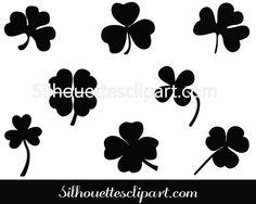 St Patrick Shamrock Silhouette Vector - Silhouettes Clip Art