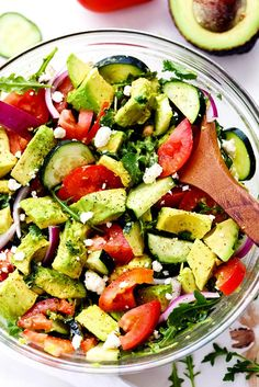 Avocado, Tomato and Cucumber Arugula Salad is fresh, delicious and light and packed with amazing flavor! Tossed in a tangy ...