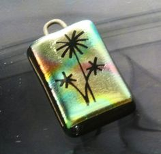 Dichroic Glass Bead Three Flowers Etched Handmade Sterling OOAK
