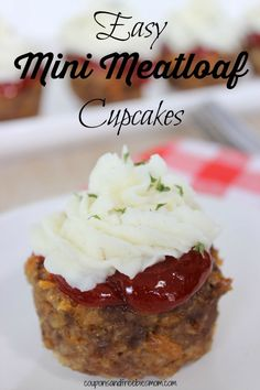 """Easy Mini Meatloaf """"Cupcakes"""" with Mashed Potato """"frosting"""" on top! Tired of the same old boring meatloaf recipe? Check out this simple and #delicious #fall recipe! Kids will eat these up! Perfect for parties! Can substitute ground turkey or chicken as desired. YUM!"""