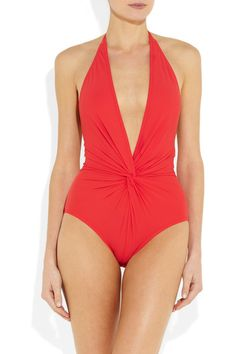 Karla Colletto   Gathered plunge-front swimsuit   NET-A-PORTER.COM