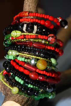 Red - Black - Green Afrocentric Women's Beaded Cuff  - 17 Coil Wrap around, via Etsy.