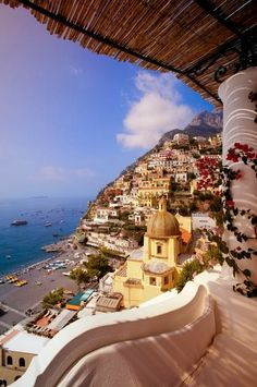 A dramatic view of the stunning Italian village of Positano