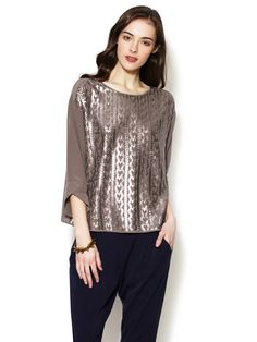 Sequin Embellished Silk Trapeze Blouse by Geren Ford on Gilt.com