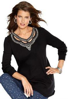 Plus Size Cutout Embellished Sweater image