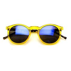 Yellow Transparent / Blue Mirror Vintage Retro Style Round Sunglasses (210 DKK) ❤ liked on Polyvore featuring accessories, eyewear, sunglasses, vintage round sunglasses, blue sunglasses, transparent sunglasses, round blue sunglasses and blue mirror sunglasses