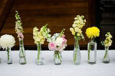 intimate nuptials at a private sundance chalet Wild Flower Arrangements, Vase Arrangements, Floral Wedding, Wedding Flowers, Bud Vases, Spring Wedding, Wedding Events, Weddings, Flower Decorations