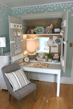 What a great DIY storage and work space solution! An old cabinet and table were transformed into a writing desk and message board.