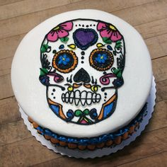 Sugar Skull Birthday Cake from Please allow One Week notice for Special Decorated Cakes Day Of The Dead Cake, Halloween Birthday Cakes, Birthday Cake Pictures, Eating Organic, Cake Designs, Sugar Skull, Amazing Cakes, Cake Decorating, Bakery