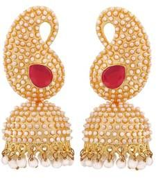 Buy Antique Indian Jewelry Simple Pearl Jhumki Earrings Purple Goldd jhumka online