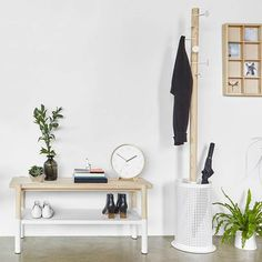 Promenade Bench White/Natural, Wood : Shop the look: scandi style shoe storage. Perfect for a small entrance or hallway. Small Entryways, Small Hallways, Small Apartment Decorating, Hallway Decorating, Tiny Spaces, Small Apartments, Small Entrance Halls, Wood Home Decor, Scandi Style