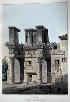 TEMPLE OF PALLAS. PL. 22. From the Views of The Remains of Ancient Buildings in Rome and its. Vicinity. c. 1820/1844..  Hand colored  Lithograph  by M Dubourg (1779–1863)
