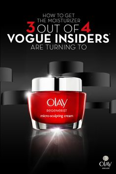 Reveal younger looking skin with the moisturizer Vogue readers are turning to. Not only does Olay Regenerist moisturize and accelerate surface skin regeneration, it reduces the look of lines and wrinkles upon first use.    *The Vogue Insiders reader panel is a group of 25,000 influential consumers across the country who have raised their hands to participate in this exclusive research community.    **Based on a study of American Vogue readers who used anti-aging facial moisturizers