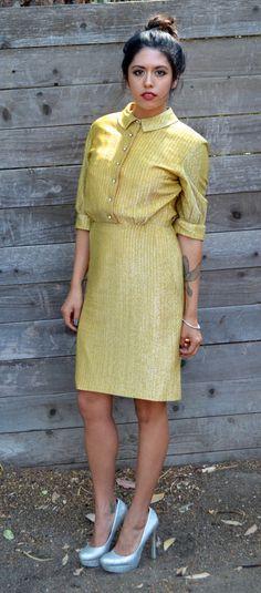 1960s Mad Men Gold Retro Dress  https://www.etsy.com/listing/159500139/x-1960s-1970s-mad-men-retro-gold-dress-x?ref=shop_home_active
