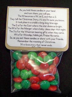 Neat way to incorporate M&Ms with the story of Christmas