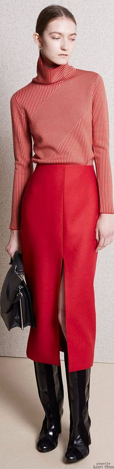 Vêtements aux lignes verticales, rouge et noir, jupe longue fendue, pull femme manche longue