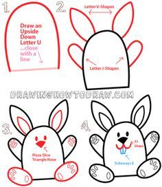 Big Guide to Drawing Cartoon Bunny Rabbits with Basic Shapes for Kids & Preschoolers - How to Draw Step by Step Drawing Tutorials Word Drawings, Easy Cartoon Drawings, Drawing Letters, Doodle Drawings, Animal Drawings, Disney Drawings, Bunny Drawing, Drawing For Kids, Drawing Drawing