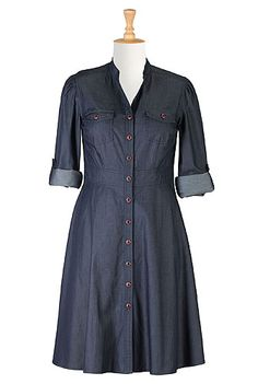 I <3 this Denim chambray cotton shirtdress from eShakti