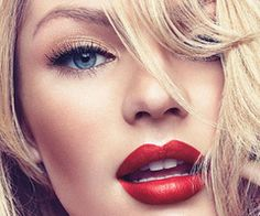 red lipstick & nude shimmering eyes