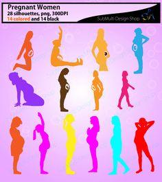 High Quality Pregnant Women silhouettes /Pregnant Women / printable Pregnant…