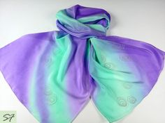 Lavender Mint Silk Scarf, Hand Painted, Batik, Women Gift Birthday, Women Fashion Scarf, Gift Her Wife Girlfriend Mom by SilkFantazi on Etsy