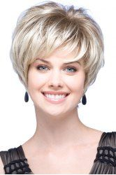 Fashion Fluffy Side Bang Ash Blonde Charming Short Straight Synthetic Capless Wig For Women