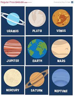 SALE Solar System Planets Wall Decor Wall Art by LittlePergola, $32.00