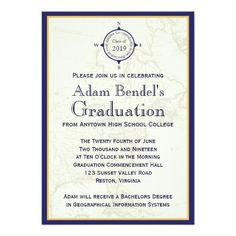 formal royal compass map graduation announcements 5 x 7 invitation card