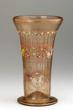 Beaker  late 13th century  Mamluk period  Glass  H: 29.5 W: 17.2 D: 17.2 cm  Syria