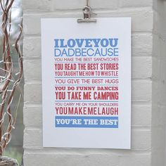 Personalised 'I Love You' Father's Day Print
