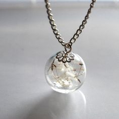 Dandelion Necklace Resin Ball Dandelion Seeds Make A Wish Glass Bead Orb Silver
