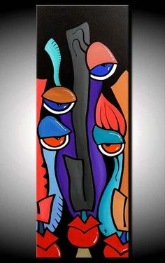 glowing in the dark merv unique contemporain tableau peinture abstrait art ebay - Tableau Abstrait Color