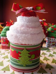 Fuzzy Christmas Socks Rolled up to look like a cupcake!