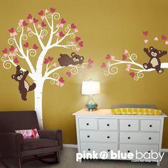 Decalcomanie, Swirly albero con bella orsacchiotti, a parete muro scuola materna bambini decalcomania