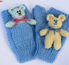 Knitting Pattern for Teddy Bear Pocket Mitts - Fingerless mitts with pockets and a tiny knit teddy bear toy that fits into the pocket. All the pieces are worked flat, using DK yarn. tba See more pics and get the pattern on Etsy http://www.awin1.com/cread.php?awinaffid=234273&awinmid=6220&p=https%3A%2F%2Fwww.etsy.com%2Flisting%2F479245786%2Fteddy-mitts-gloves%3Fref%3Drelated-3