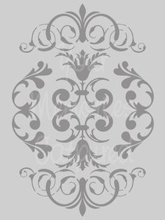 French Damask Flourish A Reusable Stencil - for fabric, wood, paper, canvas, walls - Damask Wall Stencils, Stencil Patterns, Stencil Designs, Wallpaper Designs, Arabesque, Decoupage, Dremel Projects, Arts And Crafts, Diy Crafts
