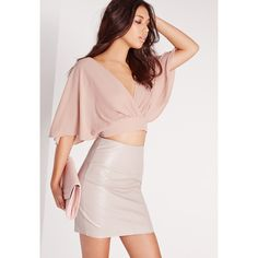 Missguided Floaty Tie Back Crop Top Nude ($37) ❤ liked on Polyvore featuring tops, taupe, taupe tops, tie back top, pink top, v-neck tops and v neck crop top