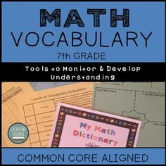 This resource contains tools to monitor, develop, and assess math vocabulary. Have your students create their own Math Dictionary or Classroom Word Wall. Monitor student progress with the Teacher Checklist and Rubric. Vocabulary is compiled based off the Common Core State Standards. I Hate Math, Love Math, 7th Grade Math, Math Class, Teacher Tools, Math Teacher, Common Core Checklist, Classroom Word Wall, Teacher Checklist