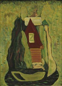 Bazovský Alexander Miloš, Slovenská krajina, 1955-65, olej na sololite, 45x33cm, O233