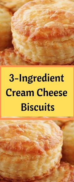 Cream Cheese Biscuits Ingredients: 8 ounces full fat cream cheese, softened ⅔ cup butter, softened 1 cup self-rising flour*, plus more for dusting *To make your own self-rising flour whisk 1 cup of flour with 1 + ½ teaspoons baking powder plus Bread Recipes, Cooking Recipes, My Recipes, Recipies, Cream Cheese Biscuits, Pan Biscuits Recipe, Biscuit Recipe With Cream Cheese, Biscuit Recipe With Self Rising Flour, Biscuits Self Rising Flour