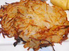 Recipe:  Hash browns baked in the oven!  I did this recipe in a cast iron skillet. Layered potatoes with Parmesan cheese and seasonings and then drizzled with melted butter. 35 minutes at 400 degrees. Yum!